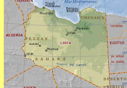 Mapa da Líbia.