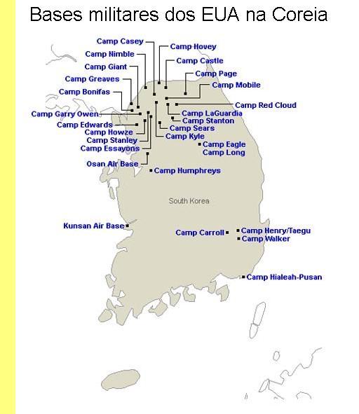 Bases militares dos EUA na Coreia.