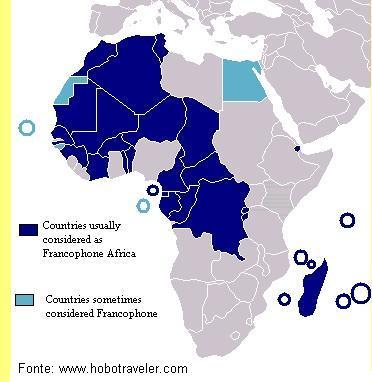 Países francófonos da África.