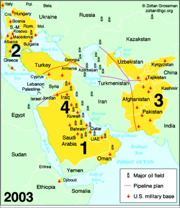 Campos de petróleo no Oriente Médio