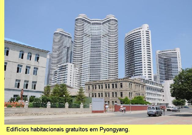 Edifícios de habitação em Pyongyang.
