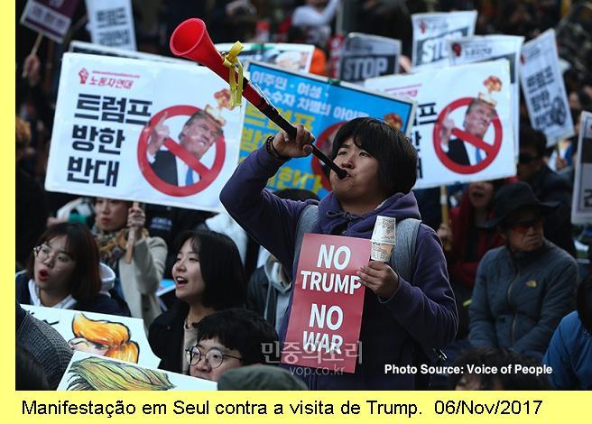 Manifestação em Seul.