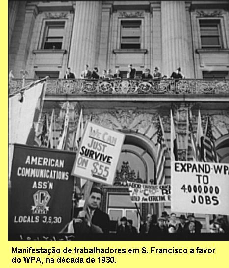Manifestação de trabalhadores em S. Francisco a favor do WPA.