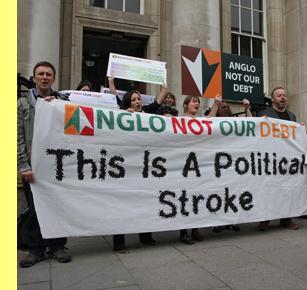 Protesto contra a assunção das dívidas do Anglo Irish Bank.