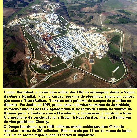 Base militar dos EUA no Kosovo.