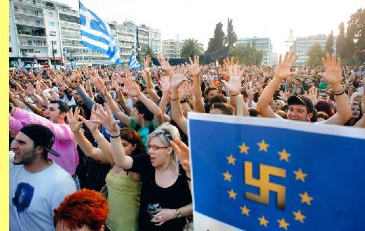 Manifestação em Atenas.
