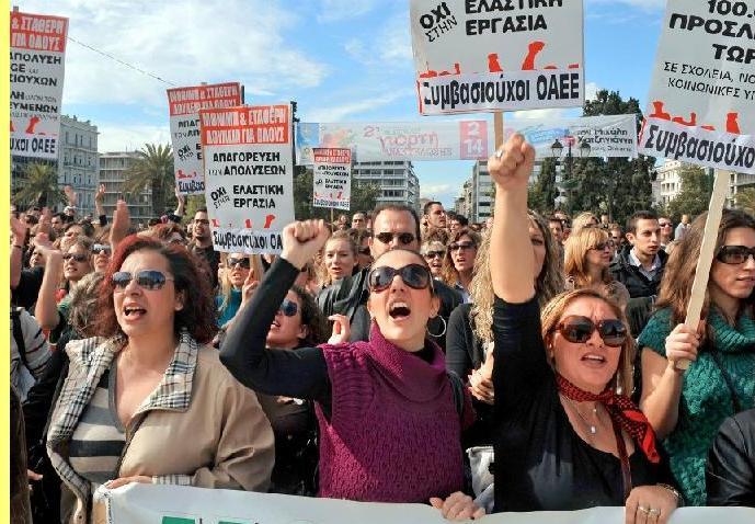Protesto em Atenas.
