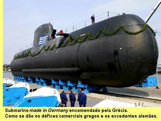Submarino comprado pela Grécia à Alemanha.