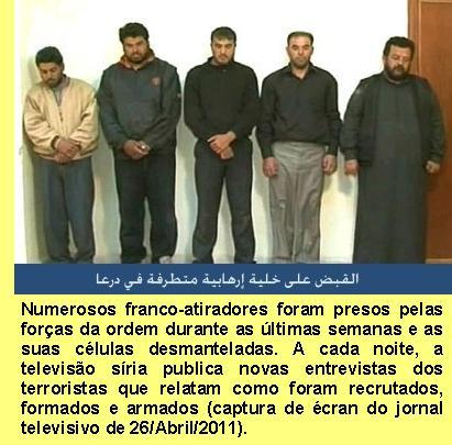 Franco-atirados presos pelas autoridades sírias.