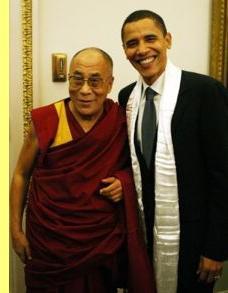 Tenzin Gyatso et Barack Obama.