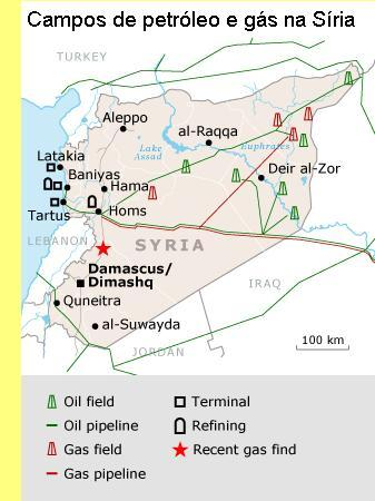 Campos de petróleo e gás na Síria.