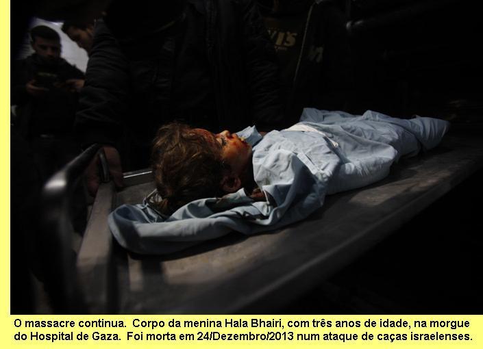 Criança assassinada pela aviação israelense.