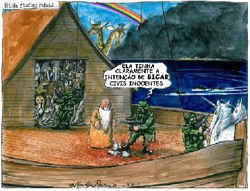 Cartoon de Martin Rowson, publicado no Guardian. Clique a imagem  para ampliar