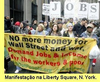 Manifestação na Liberty Square, Nova York.