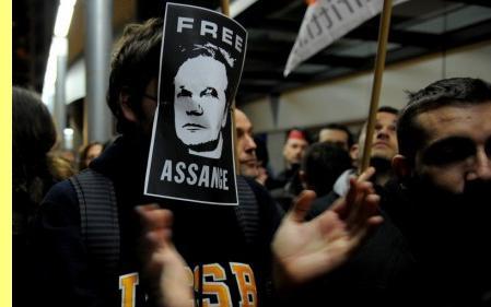 Manifestação a favor de Assange, em Barcelona.