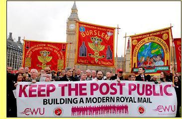 Manifestação contra a privatização dos correios britânicos.