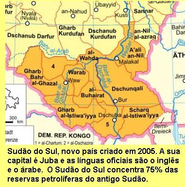 Sudão do Sul, país recém criado.