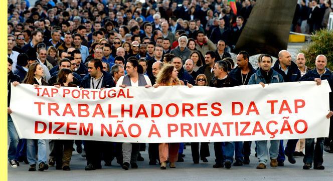 Manifestação de trabalhadores da TAP.