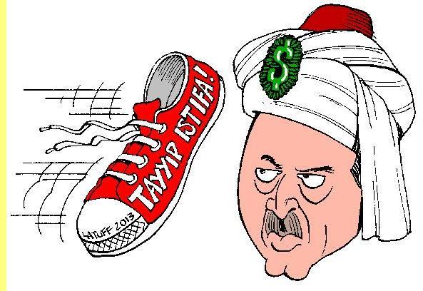 O novo sultão, cartoon de Latuff.