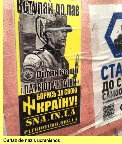 Cartaz nazi na Ucrania.