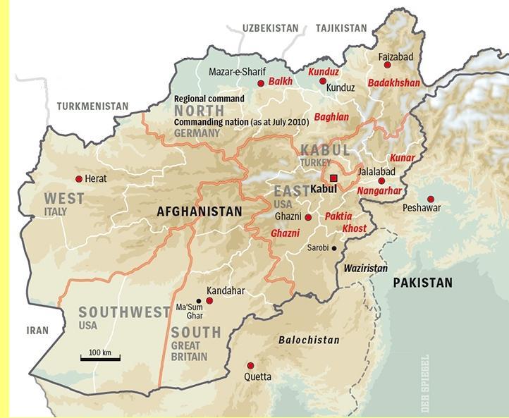 Mapa do Afeganistão.