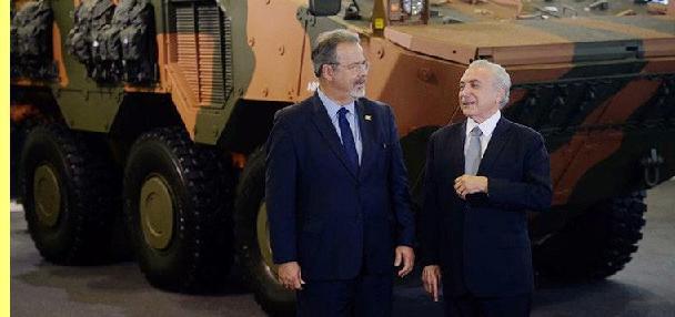 O ministro da Defesa Raul Jungmann e Temer.