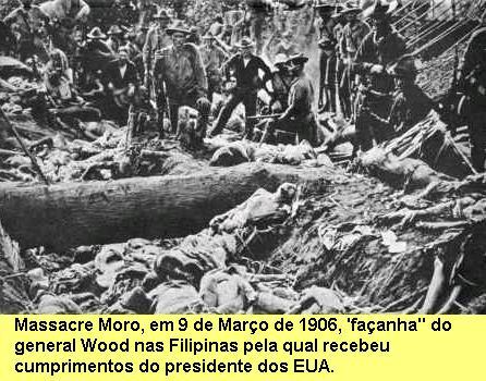 Massacre Moro, em que a tropa ianque assassinou 900 filipinos, mulheres e crianças inclusive, refugiados numa cratera de vulcão.