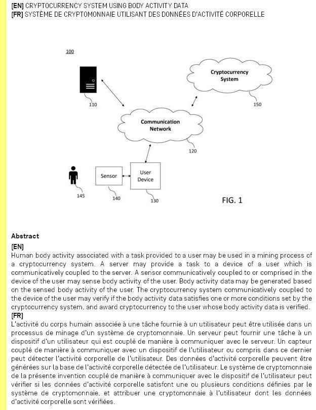 Sistema de criptomoeda utilizando dados da actividade corporal.