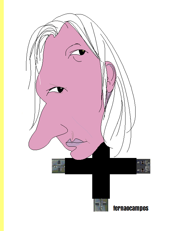O imperialismo quer crucificar Assange, cartoon de Fern