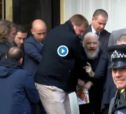 Prisão de Assange dentro da embaixada do Equador.